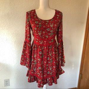 BAND OF GYPSIES Paisley bell sleeve dress